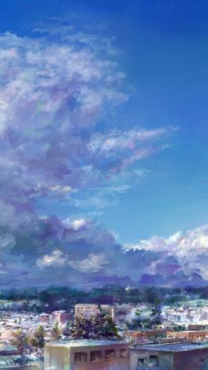 手绘二次元治愈系天空风景图片 我是优乐美你是我的热水